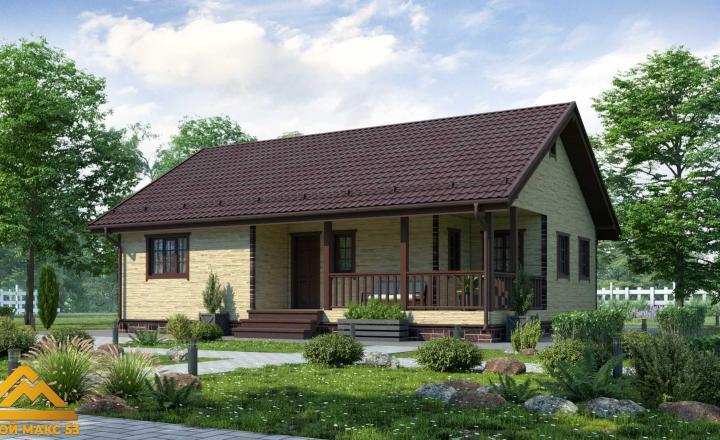 финский одноэтажный дом 9 на 12 под ключ под камень фасад