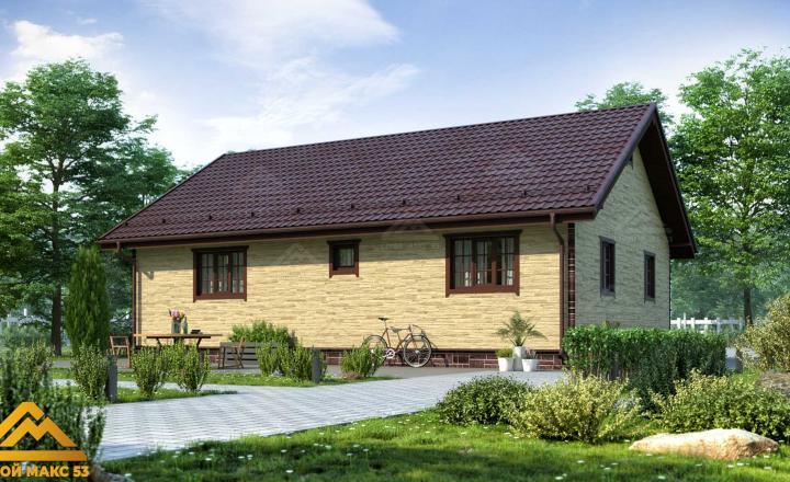 финский одноэтажный дом 9 на 12 под ключ под камень фасад сзади