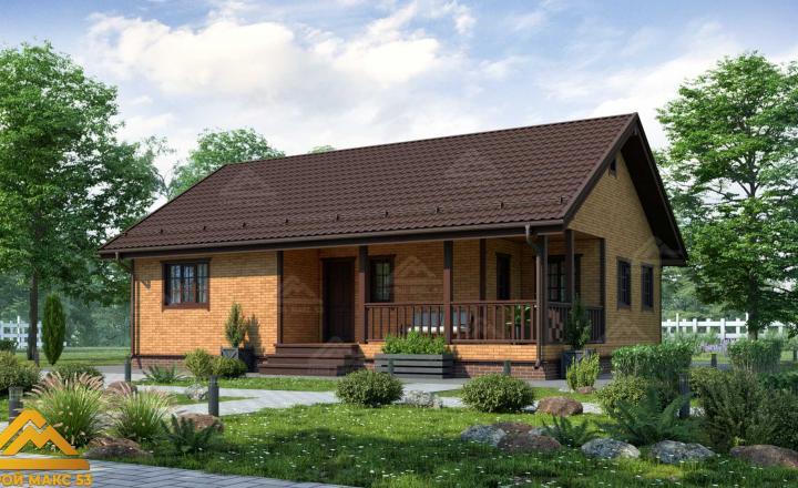 финский одноэтажный дом 9 на 12 под ключ под кирпич фасад