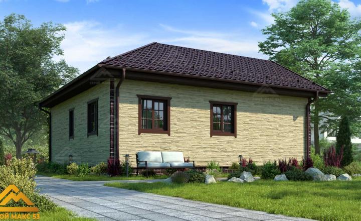 финский одноэтажный дом 9 на 9 под ключ фасад сзади