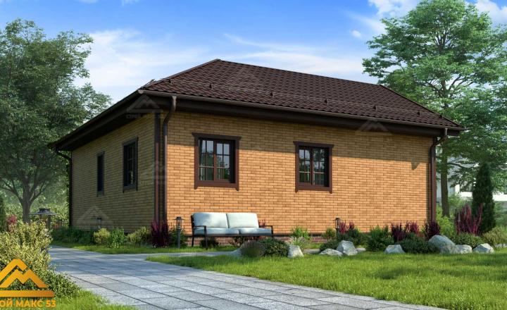 финский одноэтажный дом 9 на 9 под кирпич фасад сзади