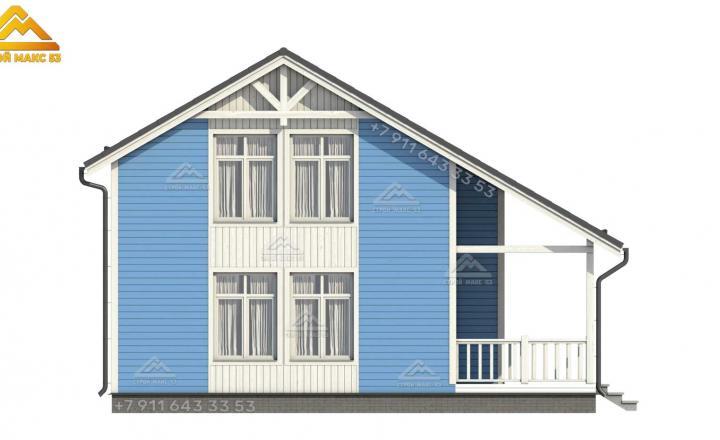 3-д визуализация бокового фасада каркасного дома под ключ в Санкт-Петербурге