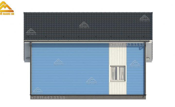 3-д визуализация каркасного дома под ключ 10 на 10 м фасад сзади