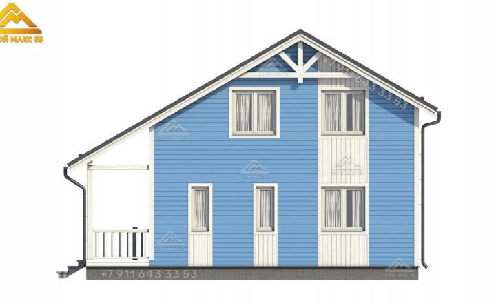 3-d визуализация бокового фасада двухэтажного каркасного дома 10х10 в Санкт-Петербурге