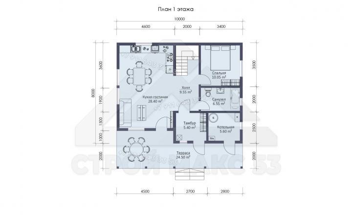 планировка первого этажа каркасного дома 10 на 10 в Санкт-Петербурге