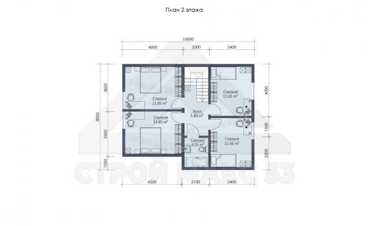 планировка второго этажа каркасного дома 10 на 10 в Санкт-Петербурге