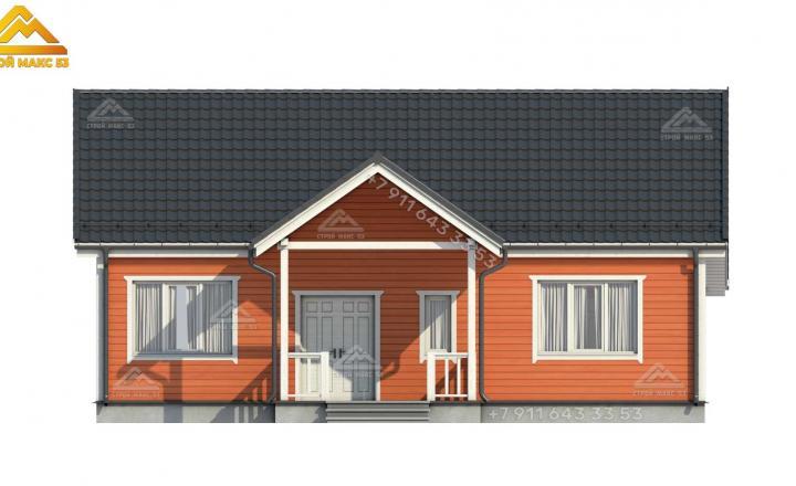 3-д визуализация фасада каркасного дома 12х12 в Санкт-Петербурге вид спереди