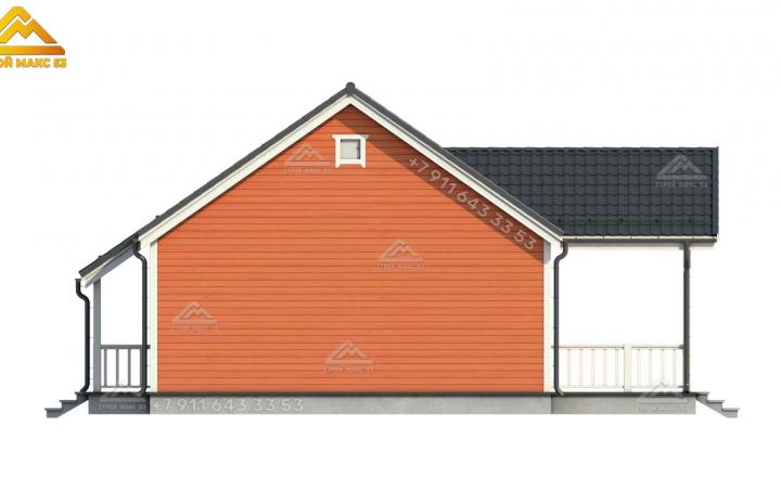 3-д визуализация бокового фасада каркасного дома 12 на 12 м