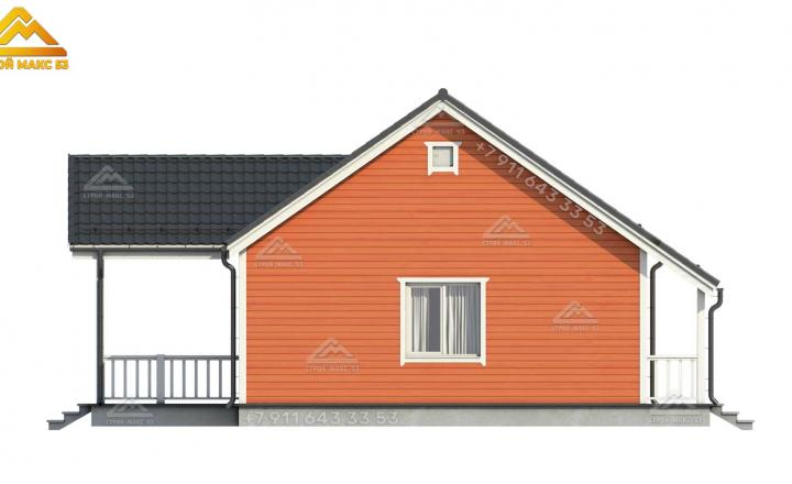 3-д рисунок бокового фасада одноэтажного каркасного дома в Санкт-Петербурге