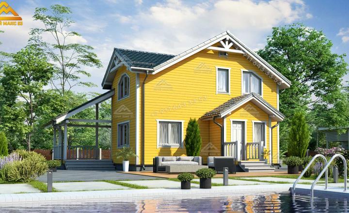 двухэтажный каркасный дом по финской технологии вид сзади