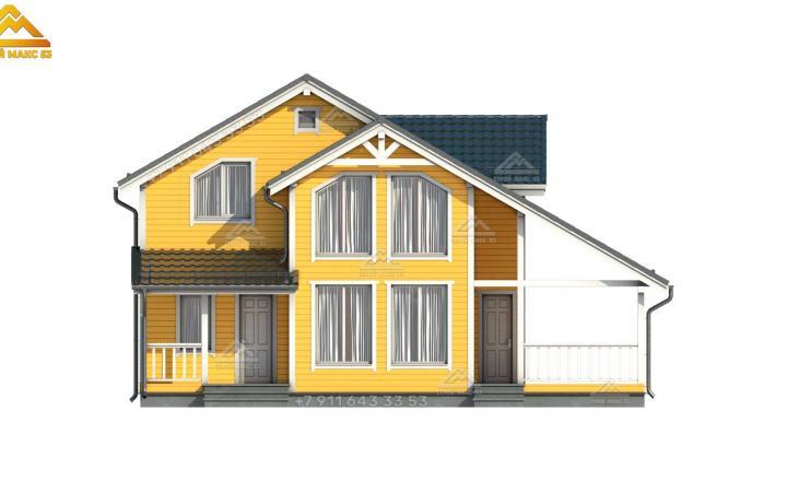 3-д проект каркасного дома по финской технологии вид спереди