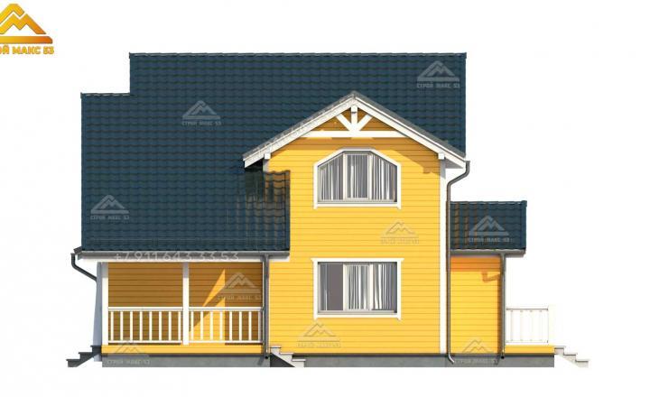 3-д рисунок бокового фасада каркасного дома 14 на 8 м