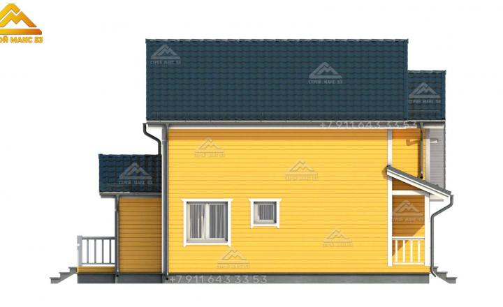 3-д визуализация бокового фасада каркасного дома по финской технологии в Санкт-Петербурге