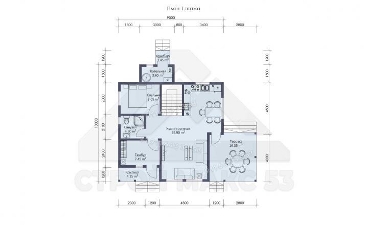 планировка первого этажа каркасного дома по финской технологии