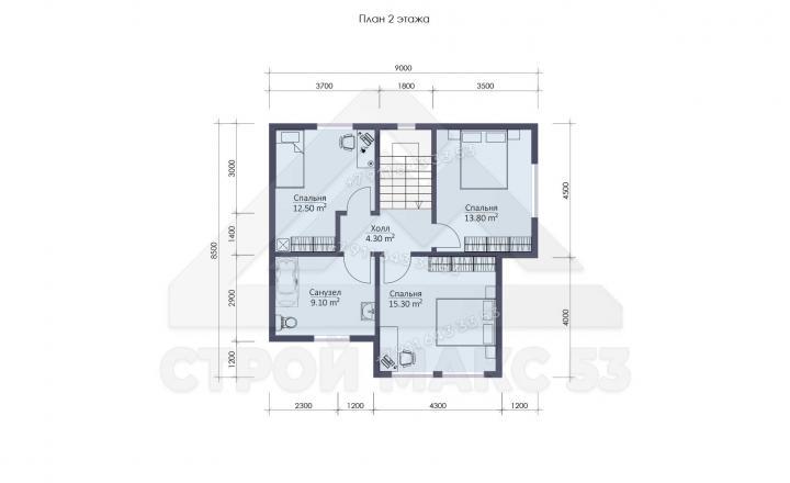 планировка второго этажа каркасного дома по финской технологии в Санкт-Петербурге