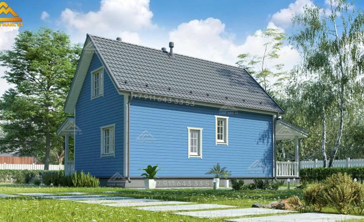 каркасный дом под ключ для постоянного проживания с террасой вид сзади