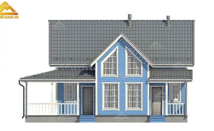 3-д проект каркасного дома для постоянного проживания в Санкт-Петербурге вид спереди