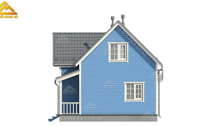 3-д визуализация бокового фасада каркасного дома с террасой 12 на 7,5 м
