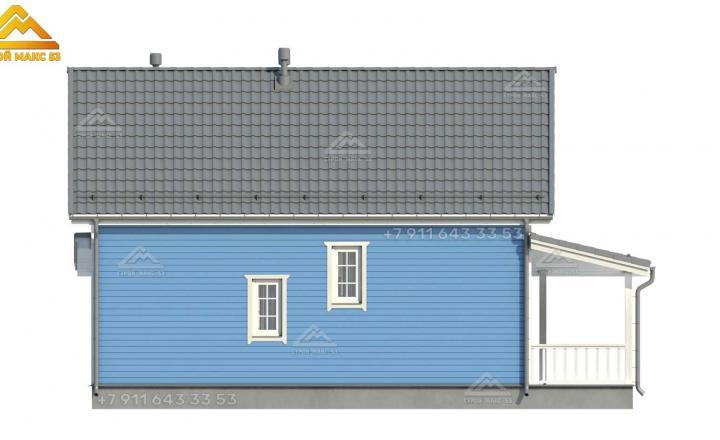 3-д проект бокового фасада двухэтажного каркасного дома в Санкт-Петербурге