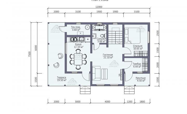 планировка первого этажа каркасного дома для постоянного проживания в Санкт-Петербурге