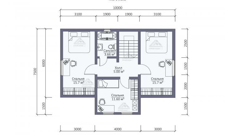 планировка второго этажа каркасного дома с террасой для постоянного проживания в СПб