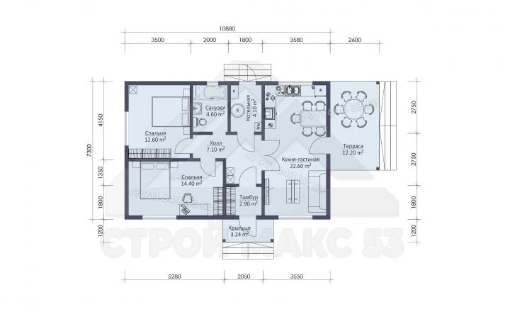 планировка одноэтажного каркасного дома под ключ 13 на 7 в Санкт-Петербурге