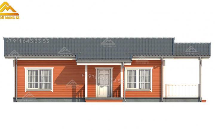 3D визуализация одноэтажного каркасного дома 13х7 м