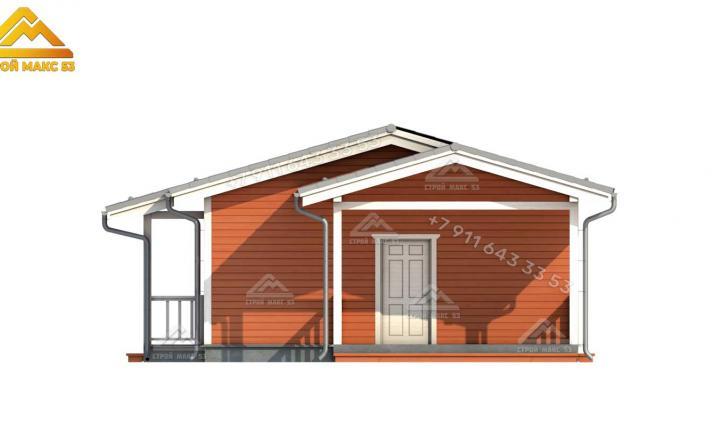 3-д рисунок одноэтажного каркасного дома под ключ боковой фасад