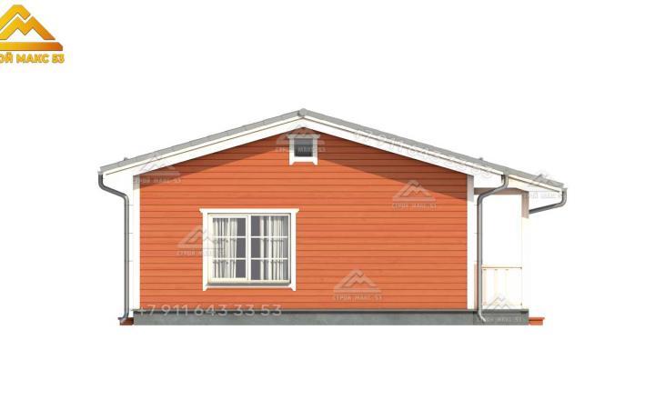 3-д визуализация бокового фасада одноэтажного каркасного дома под ключ