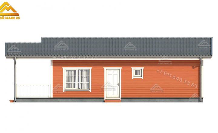 3-д рисунок одноэтажного каркасного дома 13х7 м под ключ