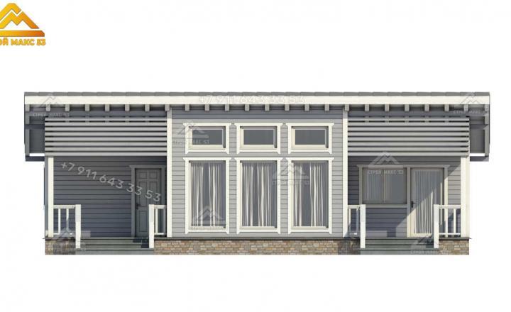 3-д изображение каркасного дома под ключ в Санкт-Петербурге передний фасад