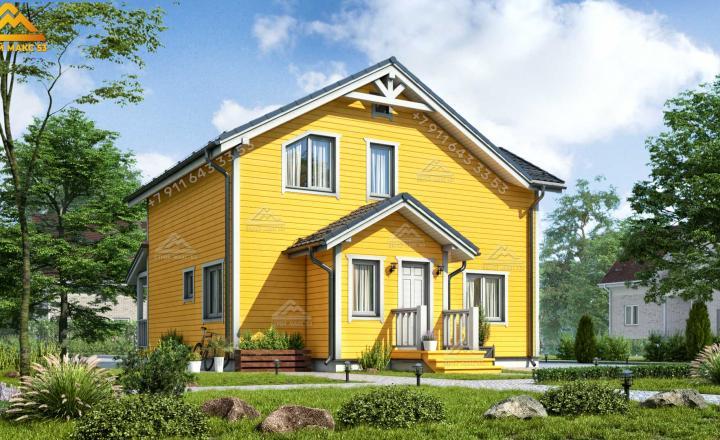двухэтажный каркасный дом под ключ 12х11 м вид сзади