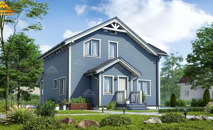 двухэтажный каркасный дом под ключ СПб вид сзади