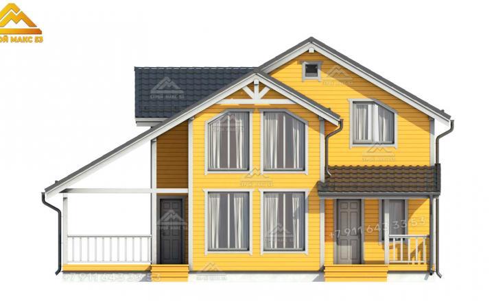 3-д изображение переднего фасада каркасного дома под ключ СПб