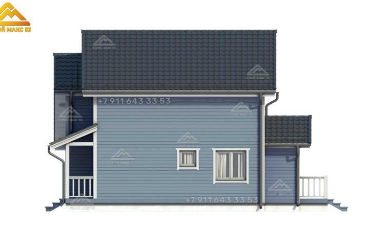 3-д визуализация бокового фасада каркасного дома под ключ СПб