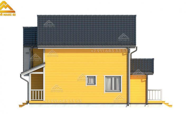 3-д изображение бокового фасада каркасного дома под ключ СПб