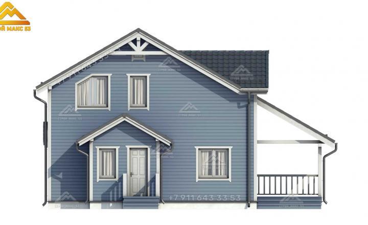 3-D изображение каркасного дома под ключ 12х11 вид сзади