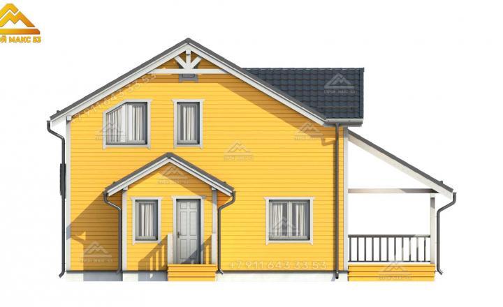 3-D эскиз каркасного дома под ключ 12х11 вид сзади