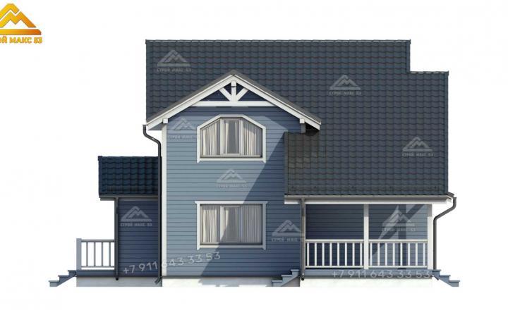 3-д визуализация каркасного дома 12х11 под ключ в СПб боковой фасад