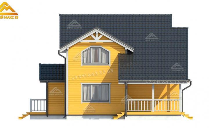 3-д визуализация желтого фасада каркасного дома 12х11 под ключ в СПб
