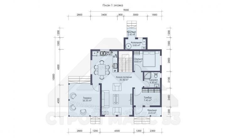 планировка первого этажа двухэтажного каркасного дома под ключ СПб