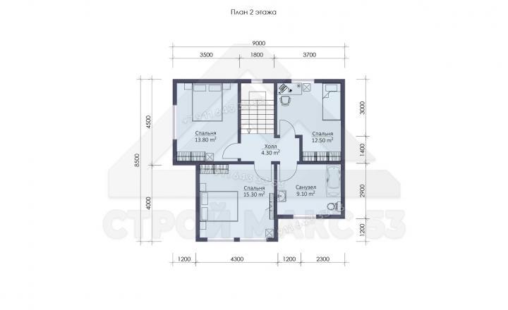 планировка второго этажа каркасного дома под ключ СПб 12х11