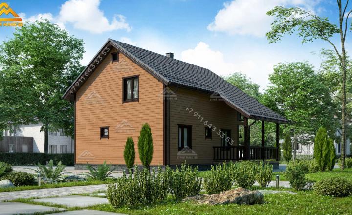 каркасный дом с мансардой под ключ в Санкт-Петербурге вид сзади коричневый фасад