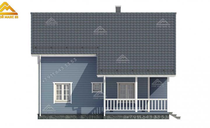 3-d визуализация бокового фасада каркасного дома под ключ в Санкт-Петербурге