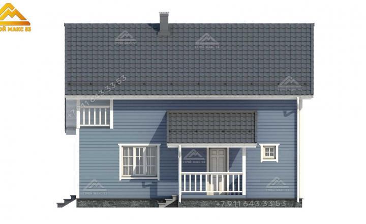 3-d эскиз бокового фасада каркасного дома под ключ 12х10 м