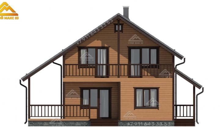 3-д изображение фасада каркасного дома с мансардой под ключ в Санкт-Петербурге вид спереди