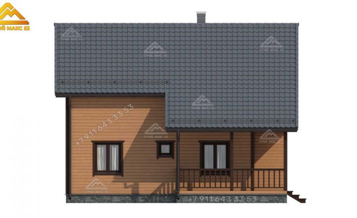 3-d эскиз бокового фасада каркасного дома под ключ в Санкт-Петербурге