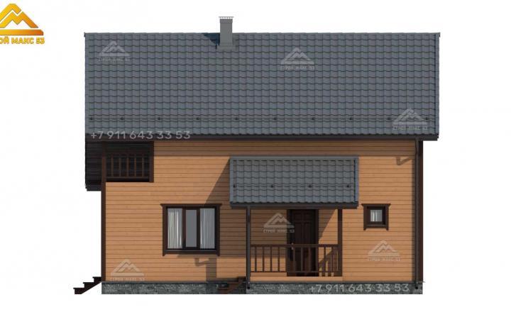 3-д визуализация каркасного дома 12х10 в Санкт-Петербурге вид сбоку