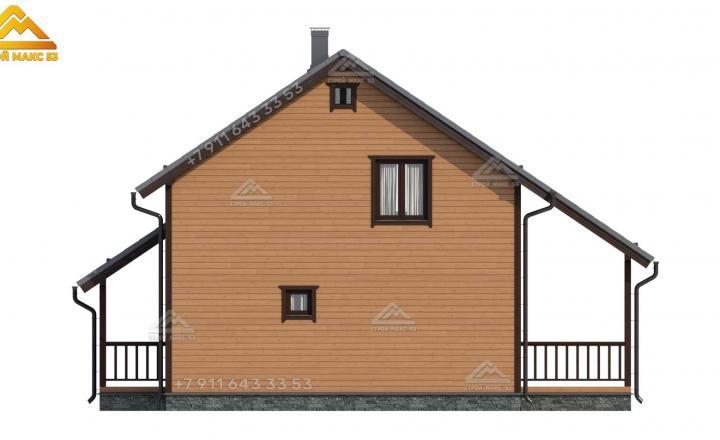 3-д визуализация каркасного дома с мансардой под ключ вид сзади