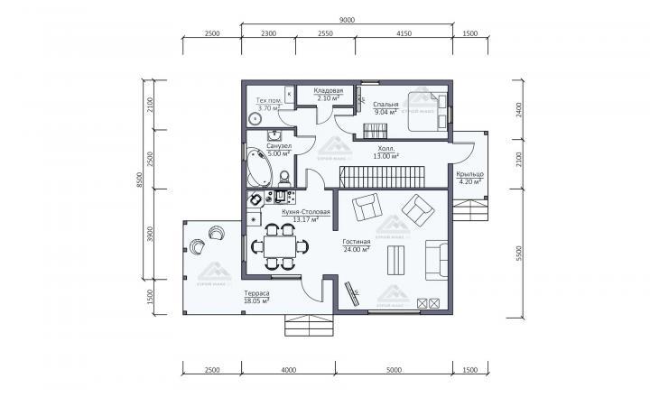 планировка первого этажа каркасного дома под ключ в Санкт-Петербурге